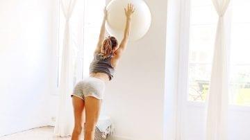Toning Leg & Glute Workout Booty ball on the wall by Gone Adventuring