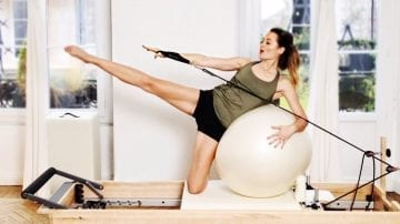 Fitball Play Date! PILATES Reformer workout by Gone Adventuring
