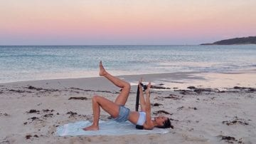 strength & stretch Sandy Sunset PILATES MAT in Oz by Gone Adventuring